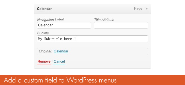 Custom Attributes To WordPress Menus
